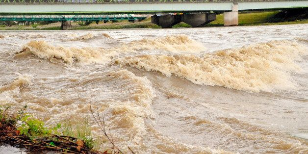 FUKUSHIMA, JAPAN - OCTOBER 16:  (CHINA OUT, SOUTH KOREA OUT) Swollen Abukuma River due to the heavy rain triggered by Typhoon