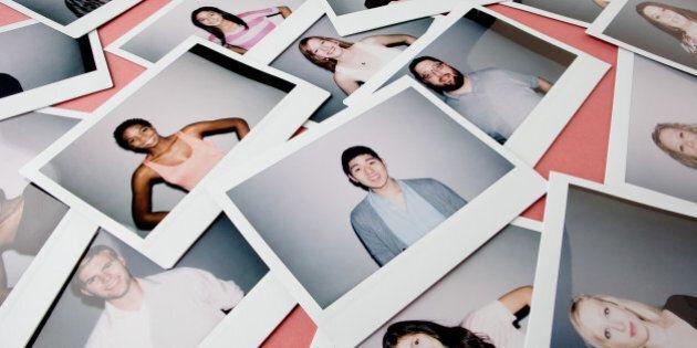 People portraits on instant film illustrating social