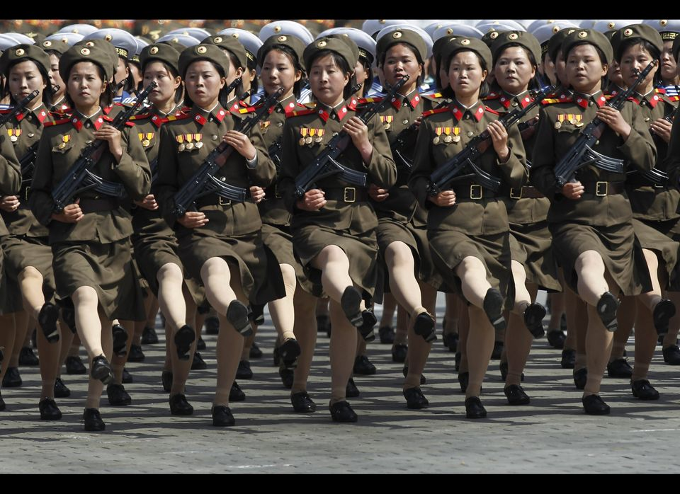 In this April 15, 2012 photo, North Korean soldiers attend a mass military parade in Pyongyang's Kim Il Sung Square to celebr