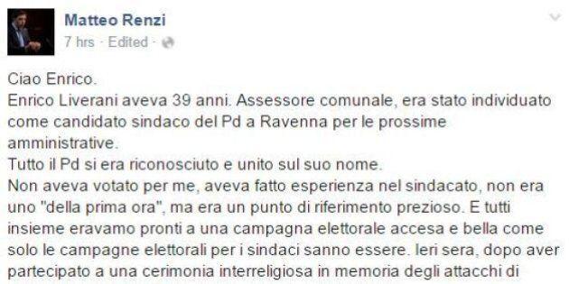 Matteo Renzi ricorda Enrico Liverani. Insulti e sfottò su Fb: l'odio politico non si ferma neanche di...