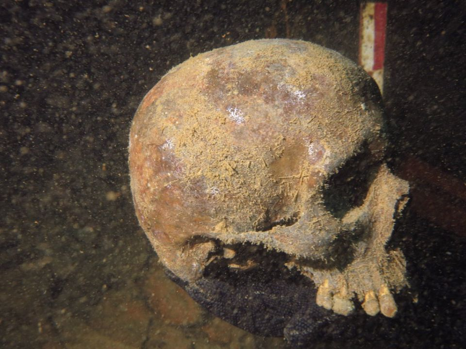 A skull found by Indonesian archaeologists at the site of a sunken German submarine from the World War II era.  On Nov. 21, 2