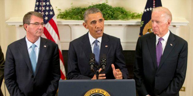 President Barack Obama, flanked by Vice President Joe Biden, right, and Defense Secretary Ash Carter,...