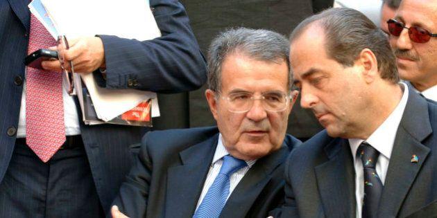 Italian premier Romano Prodi talks with Antonio Di Pietro during the ''Italia dei Valori'' congress in...