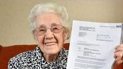 A 100 anni riceve una lettera: