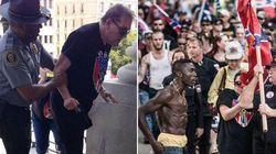 Neri che picchiano suprematisti bianchi, bandiere bruciate e