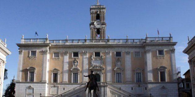 A Piazza del Campidoglio (Praça do Capitólio), com a imponente estátua de Marco Aurélio ao