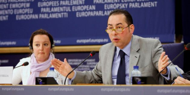 Gianni Pittella, Chair of the European Parliament delegation to conciliation, right, and Kartika Liotard,...