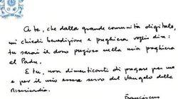 Cosa c'è scritto nel messaggio scritto a mano da Papa