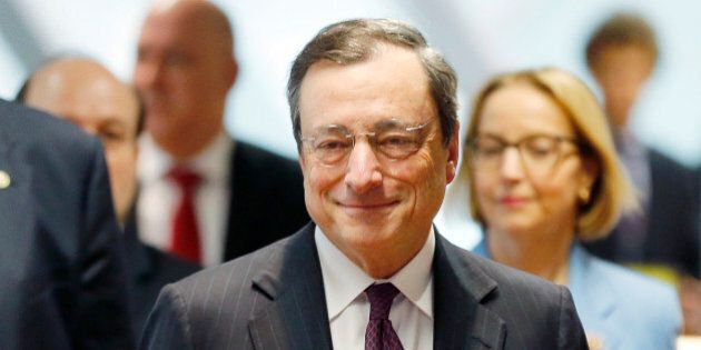 President of European Central Bank Mario Draghi is on his way to the unveiling of the new 20 euro banknote...