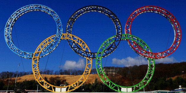 ADLER, RUSSIA - JANUARY 08:  The Olympic Rings stand outside of Sochi International Airport on January 8, 2014 in Alder, Russ