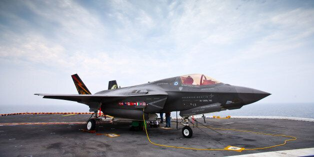 AT SEA - AUGUST 28: Joint Strike Fighter F-35 Lightning II on the deck of USS Wasp on August 28, 2013 at sea off the coast of