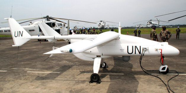 An Italian-made surveillance drone belonging to the UN's MONUSCO peacekeeping mission in the Democratic Republic of Congo wai