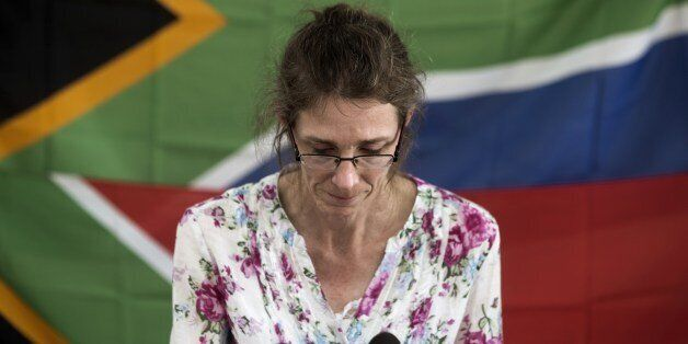 South African Yolande Korkie, a former hostage and wife of Pierre Korkie, pauses during a press conference in Johannesburg on