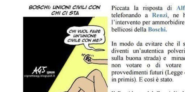 Il Mattinale di Forza Italia pubblica una vignetta osé sulla Boschi e il Pd