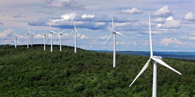 FILE- In this file photo made July 14, 2009, wind turbines line a ridge on Stetson Mountain in Stetson,...