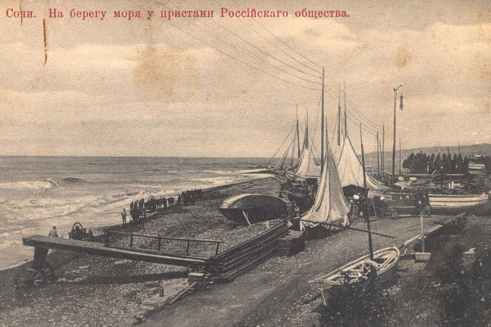 "On the beach, early 20th century. (<a href=""http://opensochi.org/node/163"">Sochi Branch</a> of Russian Geographic Society)"