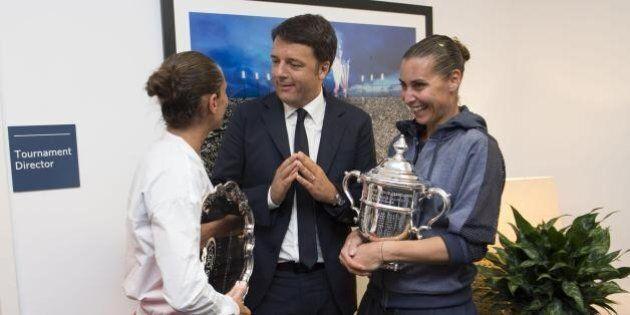 Matteo Renzi in tribuna agli Us Open per la finale tutta italiana: