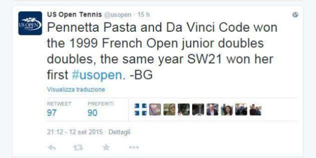 Pennetta Pasta e Da Vinci Code, il tweet gaffe dell'account degli Us Open