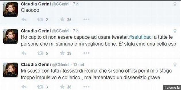 Claudia Gerini su twitter si sfoga contro la lunga attesa per un taxi a Termini. Insultata, lascia il...