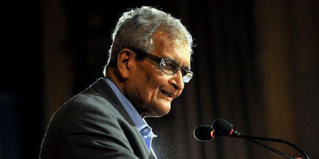NEW DELHI, INDIA - JULY 22: Nobel laureate and economist Amartya Sen  speaks after release of his book written in collaborati