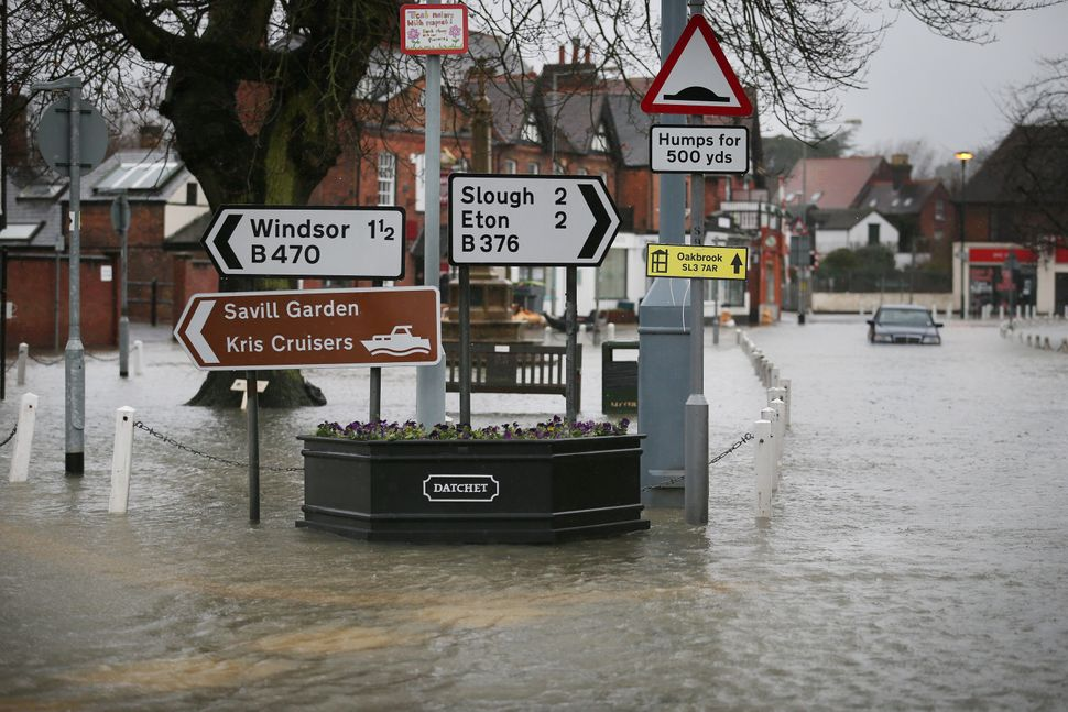 Flood water fills the High Street on February 12, 2014 in Datchet, England.The Environment Agency continues to issue severe f