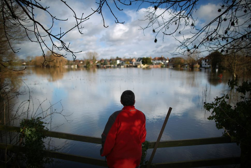 A walker looks out at the flood waters on February 13, 2014 in Staines-Upon-Thames, England. (Peter Macdiarmid/Getty Images)