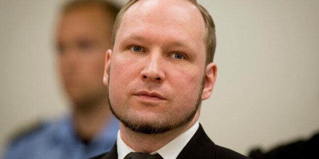 (FILES) A picture taken on August 24, 2012 shows self-confessed mass murderer Anders Behring Breivik arriving in court room 2