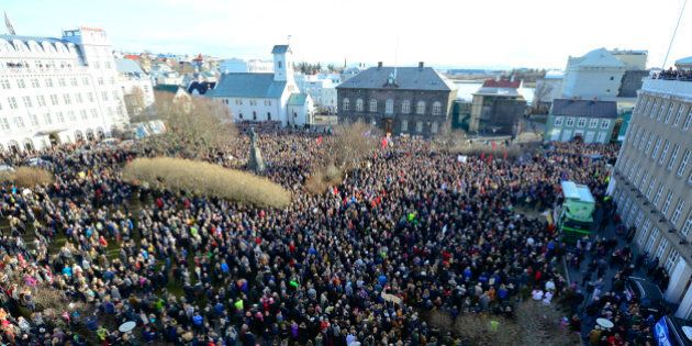 People demonstrate against Iceland's Prime Minister Sigmundur Gunnlaugsson in Reykjavik, Iceland on April...
