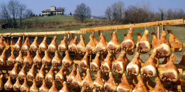Parma hams hanging out to cure in the sun and air, Italy, circa 1980. (Photo by Romano Cagnoni/Getty