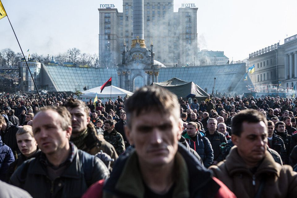 Anti-government protesters gather Independence Square on February 21, 2014 in Kiev, Ukraine. (Brendan Hoffman/Getty Images)