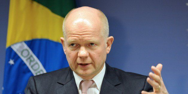 British Foreign Secretary William Hague speaks during a press conference offered along with Brazilian Foreign Minister Luiz A
