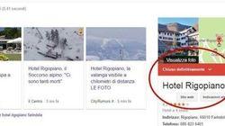 L'Hotel Rigopiano scompare anche su Google: