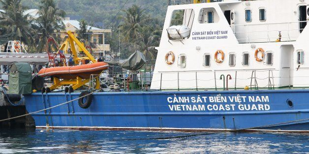 A Vietnam coast guard ship is seen anchored at a local naval base at Phu Quoc island, in the waters of southern Vietnam, wher