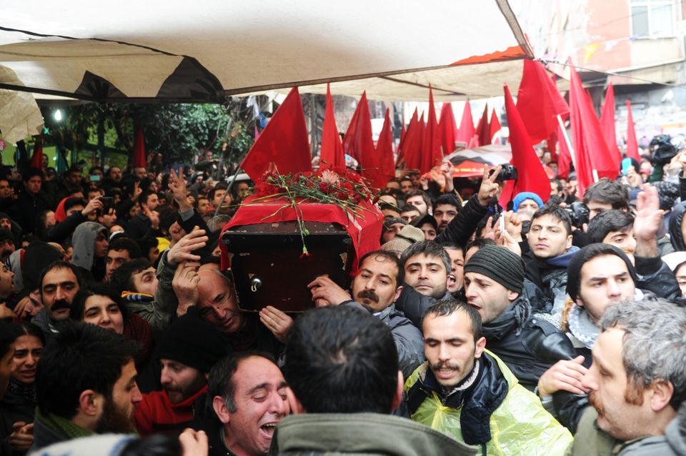 The coffin of Berkin Elvan is carried on March 11, 2014, in Istanbul. (OZAN KOSE/AFP/Getty Images)