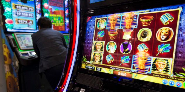 A 3D slot machine by Gtech of the U.S. is seen at the Global Gaming Expo Asia in Macau May 20, 2014.Global...