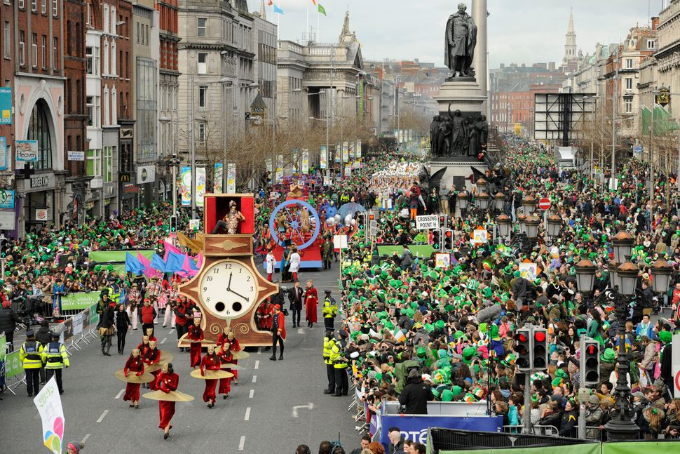 Participants take part in the St Patrick's Day parade on March 17, 2014 in Dublin, Ireland. (Clodagh Kilcoyne/Getty Images)