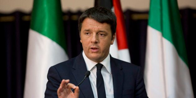 Italy's Prime Minister Matteo Renzi speaks during a press conference with Palestinian President Mahmoud...