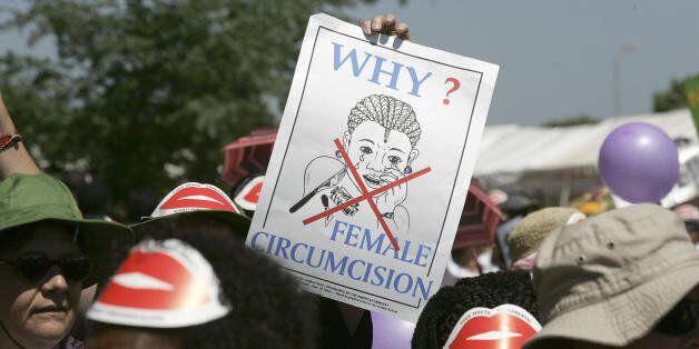 Nairobi, KENYA:  Members of African Gay and Lesbian communities demonstrate against female genital mutilation, 23 January 200