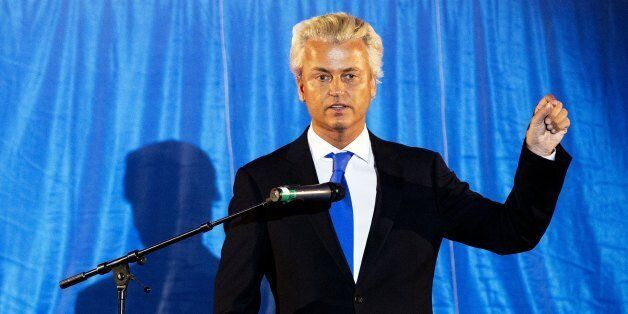 Dutch Freedom Party (PVV) leader Geert Wilders gestures during a speech in Ahoy in Rotterdam, on August 24, 2012. AFP PHOTO/