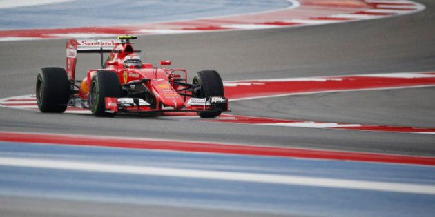 Ferrari driver Kimi Raikkonen, of Finland, steers his car during first practice session for the Formula...