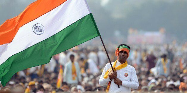 An Indian supporter of the Bharatiya Janata Party (BJP) Prime Ministerial candidate for India's forthcoming general election