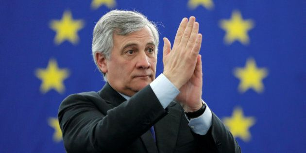 Newly elected European Parliament President Antonio Tajani reacts after the announcement of the results...