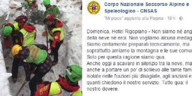 Hotel Rigopiano, il soccorso alpino su Fb: