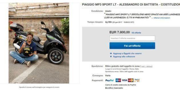 Alessandro Di Battista vende su Ebay la moto del tour