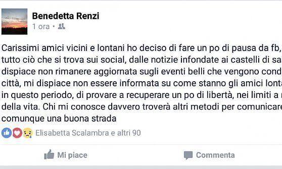 Benedetta Renzi lascia Facebook. La sorella del premier:
