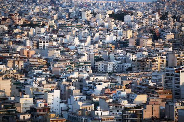 The Dafni district of Athens at sunset on June 11, 2012. (Oli Scarff/Getty Images)