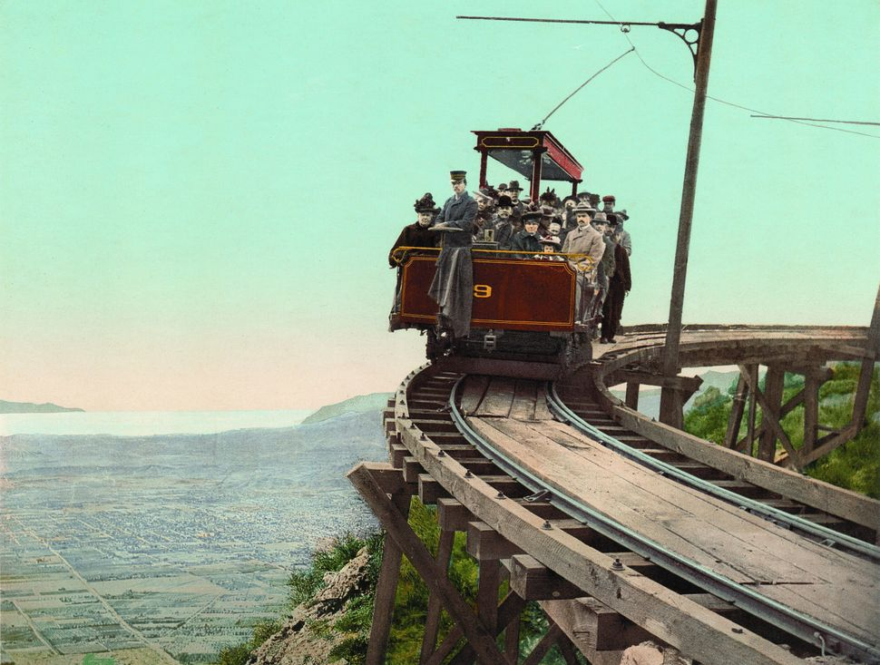 Mount Lowe railway, on the circular bridge, California.