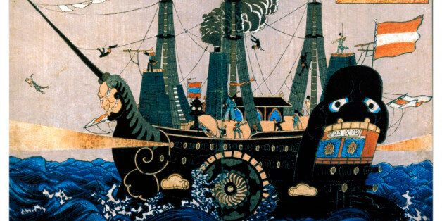 BOULDER, COLORADO, MARCH 10, 2004--This Japanese wood-block print depicting Commodore Perry's ship stands in sharp contrast t