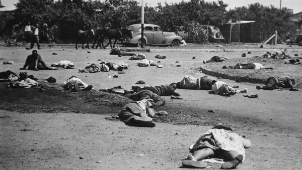 In 1960, police open fire on a large group of blacks associated with the Pan-African Congress (PAC), an offshoot of the ANC,