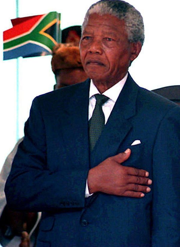 """Nelson Mandela is <a href=""""http://news.bbc.co.uk/onthisday/hi/dates/stories/may/10/newsid_2661000/2661503.stm"""" target=""""_blank"""